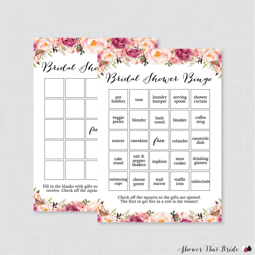 cf3d7d459ee7 Pink Floral Bridal Shower Bingo Printable 60 Unique