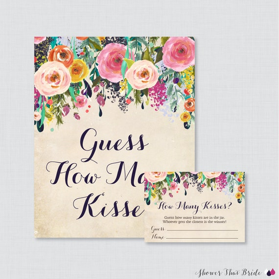 guess how many kisses bridal shower game printable floral bridal shower kisses guessing game shabby chic