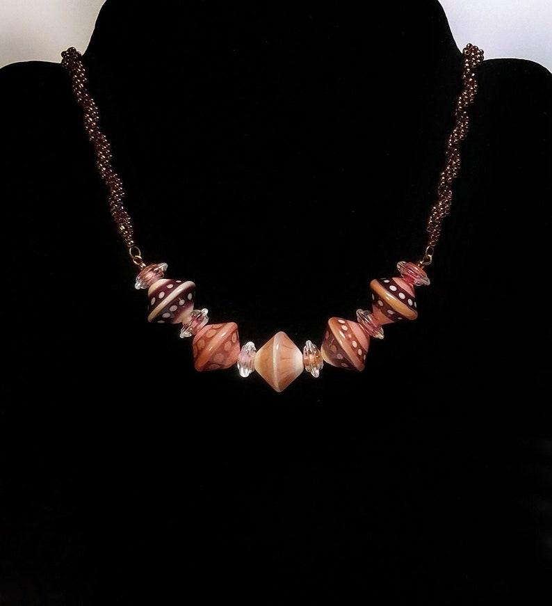 Murano Glass Murano Lampwork Glass Necklace Women/'s Necklace Lampwork Necklace Handmade Shades of Pink and Burgundy Artisan Made