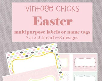 Easter name tags/multipurpose labels - Vintage Chicks Design