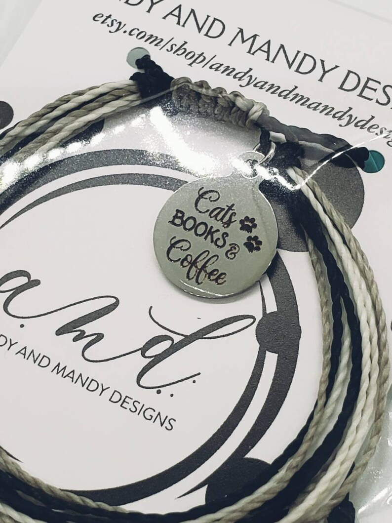 Friendship String Bracelet Cats Books and Coffee Charm Bracelet Waterproof Bracelet Coffee Gift Inspirational Charm Cord Bracelet