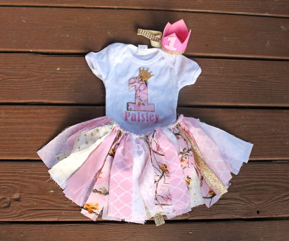 1st Birthday Outfit Girl Camouflage Pink