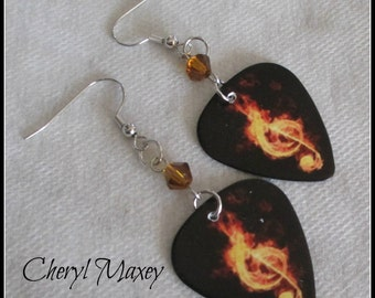 Amber Guitar Pick Earrings
