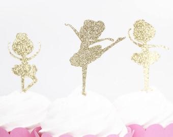 Ballerina Cupcake Toppers, Ballerina Party Decor, Gold Glitter Ballerina, Custom Color Ballerina Topper,