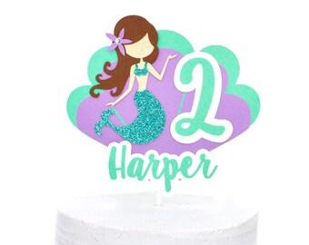 Mermaid Cake Topper, Mermaid Centerpiece, Custom Mermaid Cake Topper, Under The Sea Party Decor, Mermaid Party Decorations, Cake Toppers