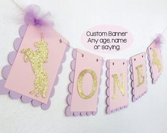 Unicorn Banner | Unicorn Party Decorations | Custom Color Banner |  Pegasus - Birthday | Unicorn Baby Shower | Baby Shower Banner
