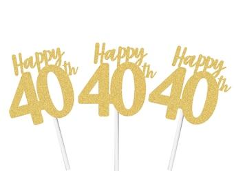 Happy 40th Cupcake Topper, Happy 40th Birthday, Happy 40th Anniversary Cupcake Topper, 40th Birthday Decor, 40th Anniversary