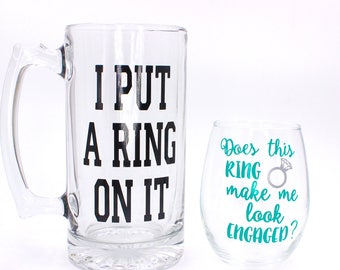 Engagement Gift For Couples, Engagement Wine Glass, Engagement Beer Mug, Personalized Wedding Gift, Stemless Wine Glass, Bridal Shower Gift