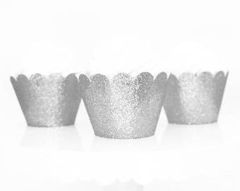 Silver Glitter Cupcake Wrappers, Standard Size Cupcake Wrappers, Custom Color Cupcake Wrappers