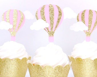 Hot Air Balloon Cupcake Toppers - Up Up And Away Cup Cake Toppers - Hot Air Balloon Birthday Party Decor - Baby Shower Cupcake Toppers