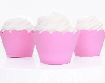 Pink Cupcake Wrappers, Standard Size Cupcake Wrappers, Custom Color Cupcake Wrappers
