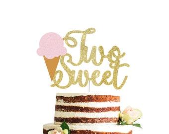 2x Ice cream cake topper Summer Party Pom Pom Tulle Ice cream cone cake topper