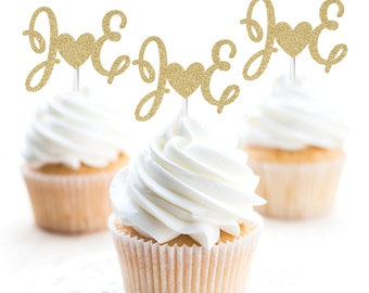 20 PERSONALISED Cup Cake Toppers FavoursWedding FlowersCupcake Decoration
