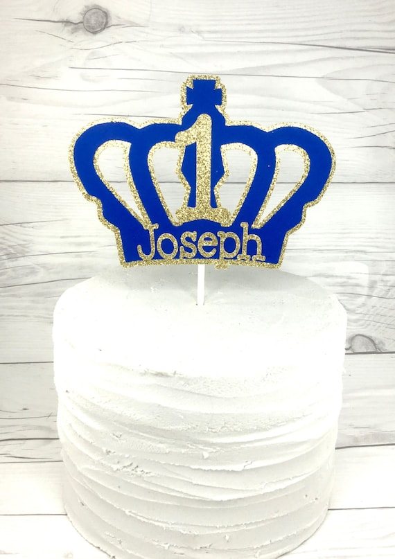 Strange Prince Royal Blue Birthday Cake Topper Boys First Etsy Funny Birthday Cards Online Fluifree Goldxyz