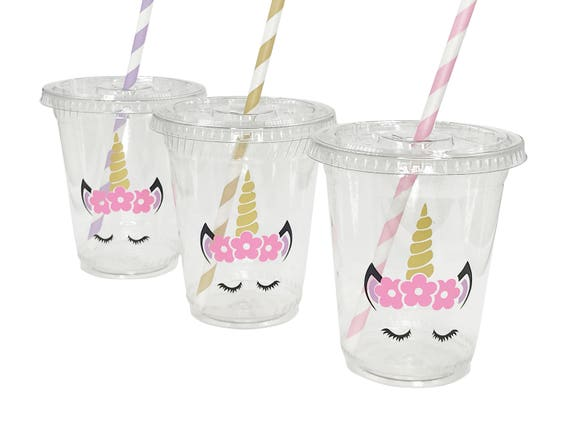 Unicorn Party Cups, Unicorn Face Themed Party Decor, Unicorn Cups, Unicorn  Birthday, Unicorn BabyShower, Comes with lids and straws