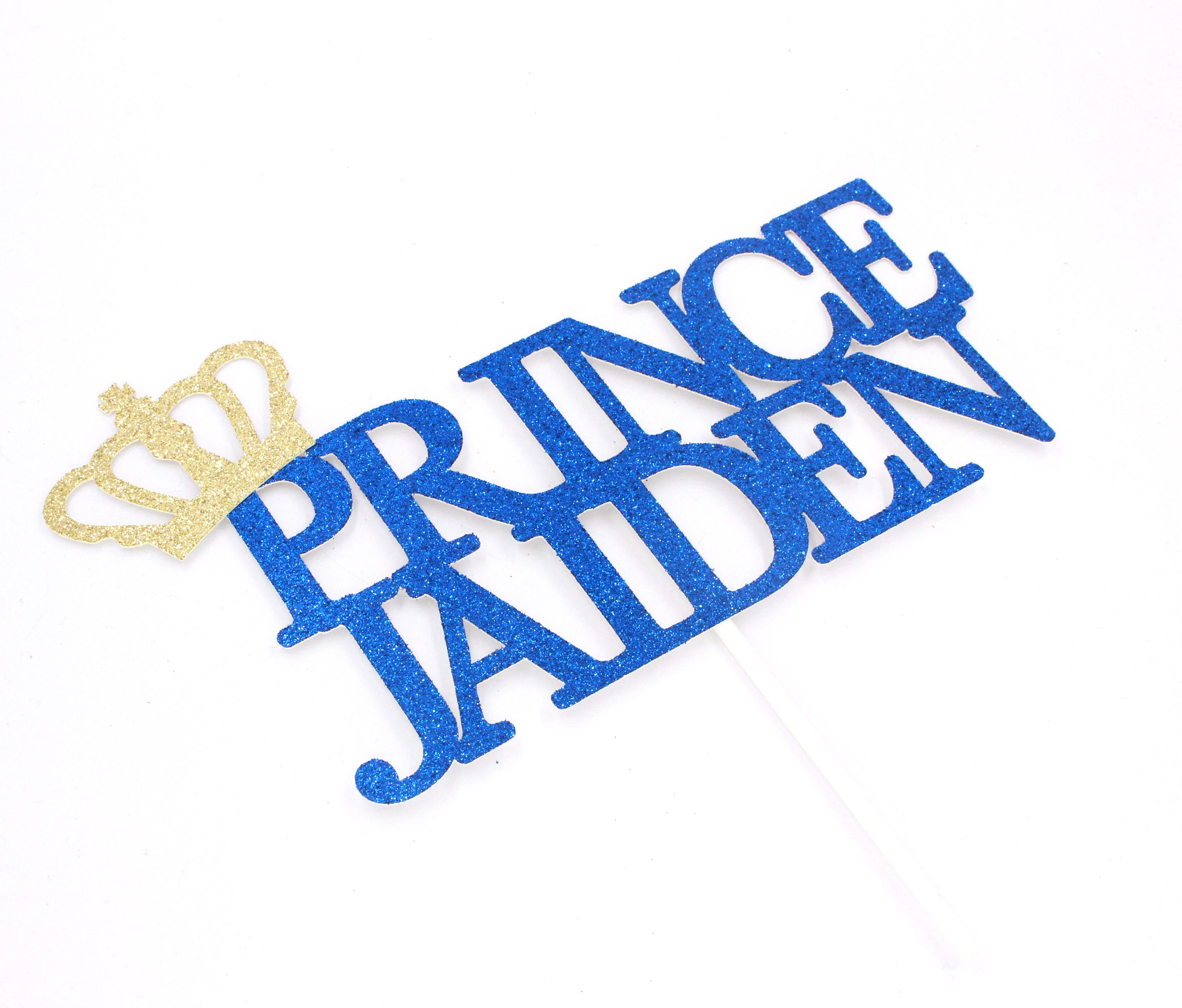 Royal Prince Name Cake Topper Gold And Navy Glitter Cake Etsy
