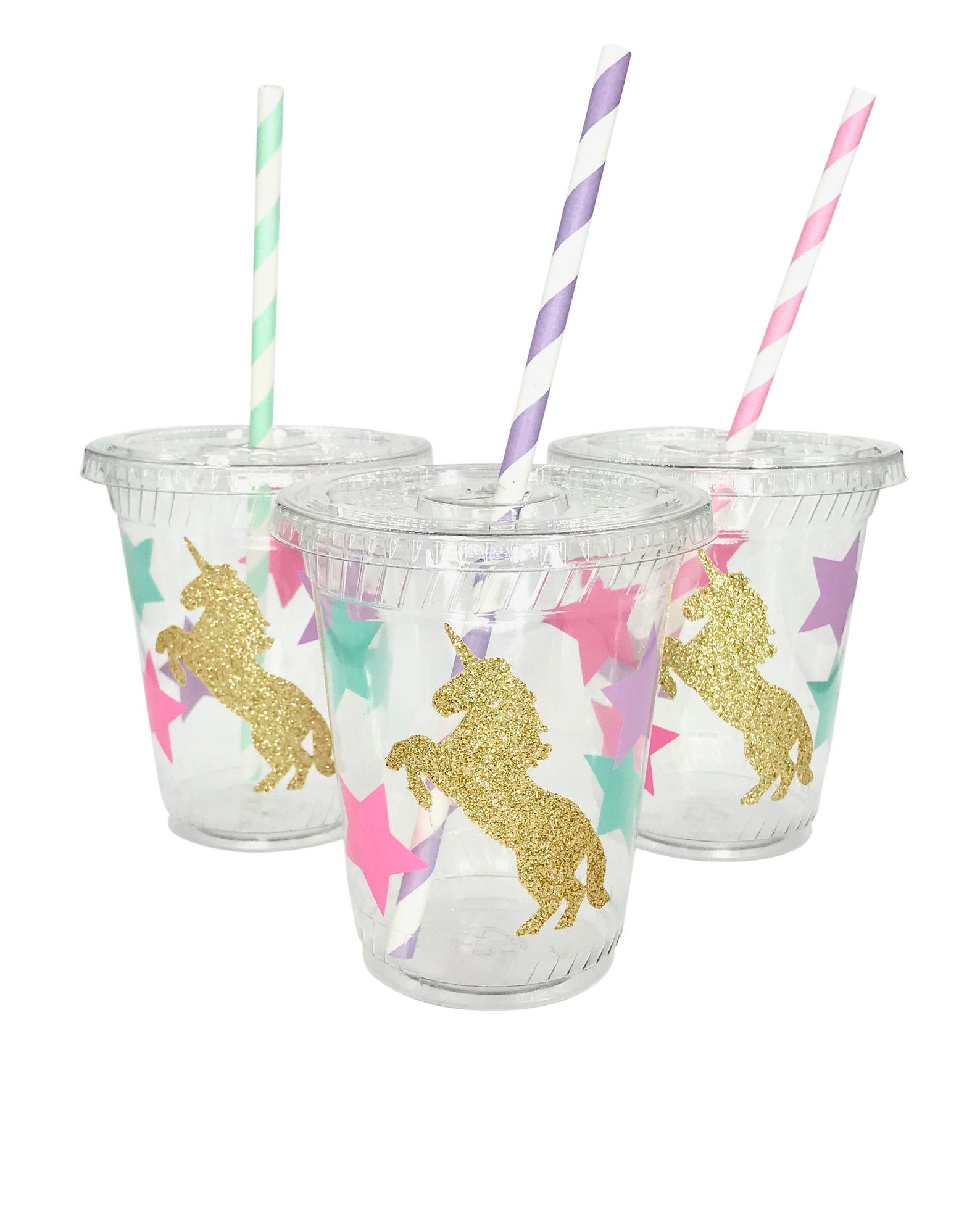 Unicorn Plastic Party Cups for 6 Guests