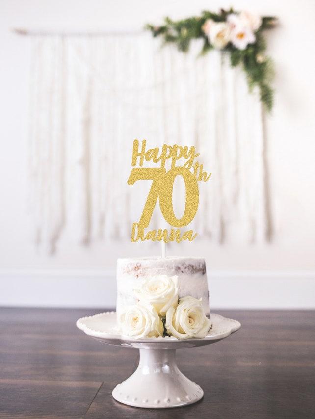 Custom Happy 70th Cake Topper Personalized Birthday Anniversary