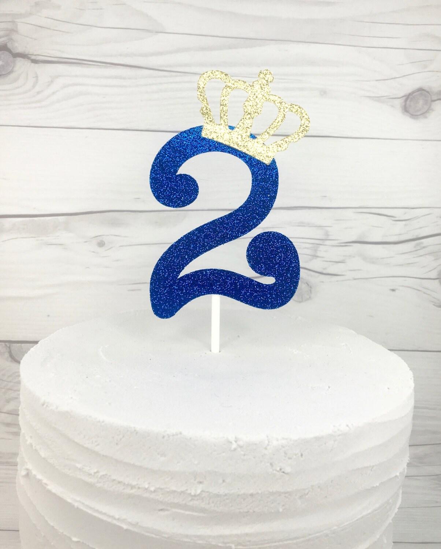 Prince Royal Blue Birthday Cake Topper Boys First