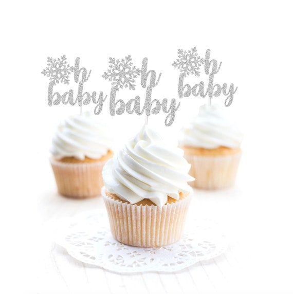 6 or 12 CT. Gender Reveal Party Decorations Snowflake Cupcake Topper Baby Shower Decorations Oh Baby Cupcake Topper