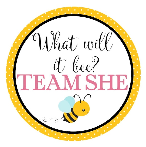 BUMBLE BEE Gender Reveal Party Stickers What will it Bee Team Pink Team Boy Baby Shower Team She Team Blue Team He Team Girl