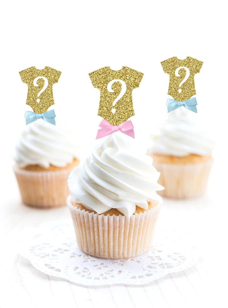 f3bfa723d3 Gender Reveal Cupcake Toppers Body Suit Question Mark Cupcake | Etsy