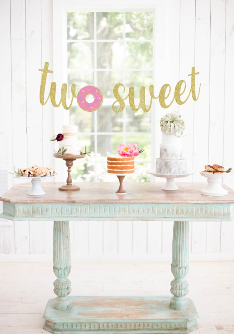 Two Sweet Donut Banner Donut Banner Donut Grow Up Decor image 0