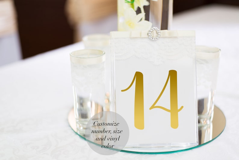 Customizable Number Decals Wedding Table Number Decals Table image 0