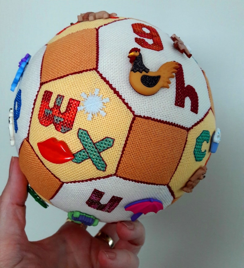The Alphabet Cross Stitch Ball with Buttons pdf pattern image 5