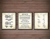 Star Trek Poster - SET OF 3 - Star Trek Wall Art - Star Trek Gift - Star Trek Blueprint - Star Trek Decor - USS Enterprise - 2534