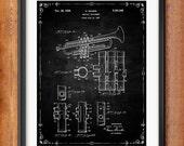 Patent Print Selmer Trumpet Musical Instrument Musician Gift Selmer Trumpet Poster Music Decor Music Gifts for Musician Blueprint 1035