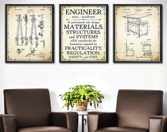 office wall blank engineer gift set of gifts for mechanical engineering office wall decor 1912 wall decor etsy