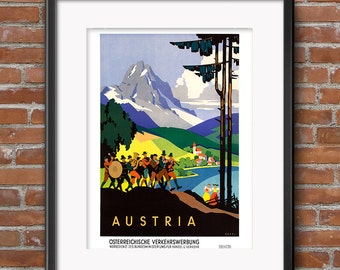 AUSTRIA Poster - Vintage Sound of Music in the Air Band Playing Music Women - Vintage Travel Poster Sign Decor Travel Print  - 0568