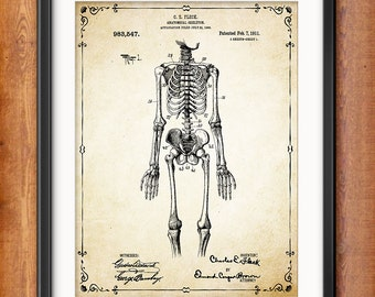 Human Skeleton Antique Anatomy Wall Art Poster - Human Skeleton Poster - Medical Student Gift Idea - Antique Anatomy Home Decor - 1303