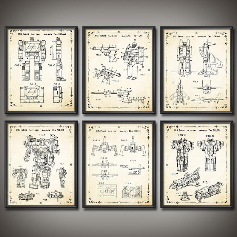 93565917376318 Transformers G1 Decepticons Megatron Patent Print SET OF 6