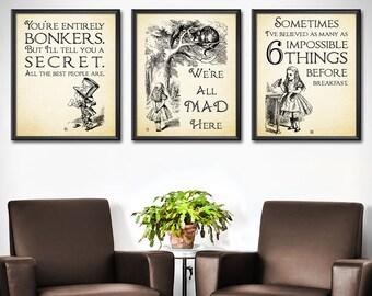 Alice in Wonderland Poster Set of 3 - Alice in Wonderland Print Set - Alice in Wonderland Home Decor - Alice in Wonderland Room Decor - 0197