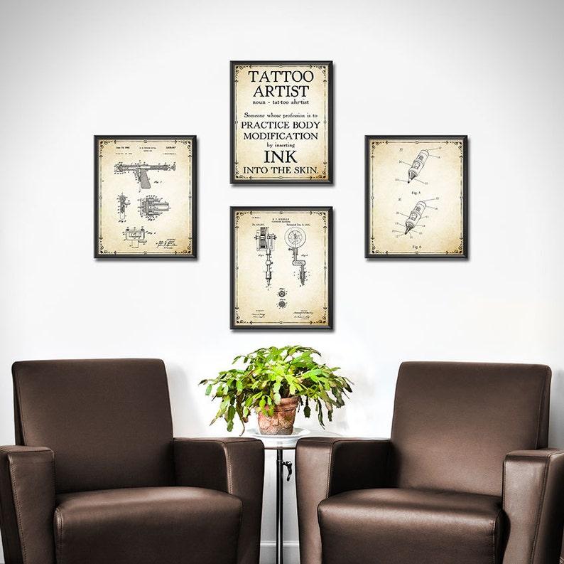 Tattoo Shop Decor Art Print SET OF 4 Tattoo Machine Tattoo | Etsy