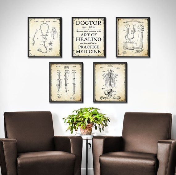DOCTOR Gift Set OF 5 Doctors Office Decor Medical Patent Etsy