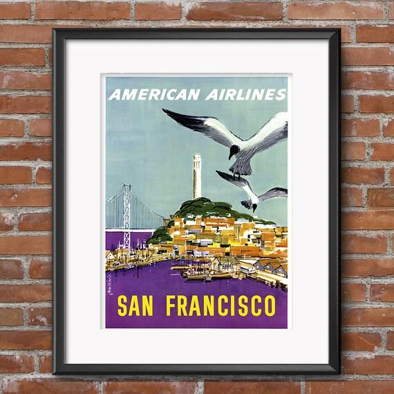 VINTAGE SAN FRANCISCO AMERICAN AIR LINES TRAVEL A4 POSTER PRINT