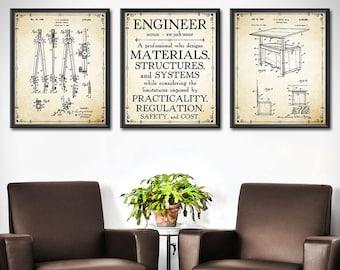 Engineer Gift - SET OF 3 - Engineer GIfts - Gift for Engineer - Mechanical Engineering Office Wall Decor - Engineer Decor - Gift - 1912