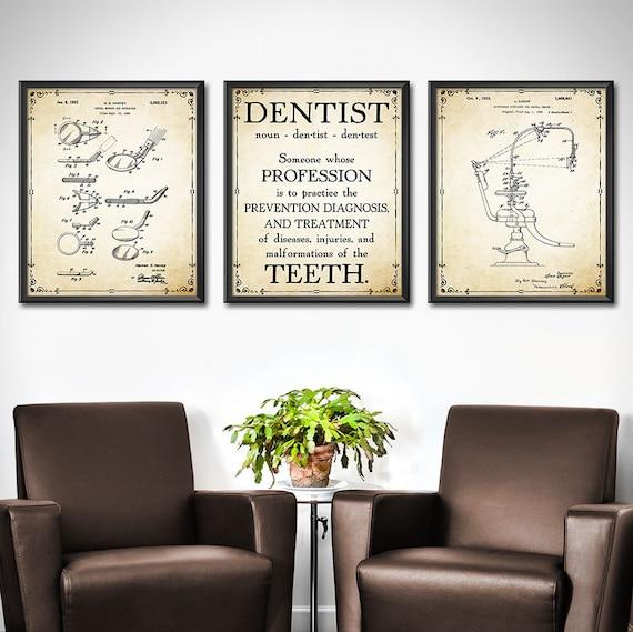 Dentist Office Decor Set of 3 Dentist Wall Art Wall Decor | Etsy