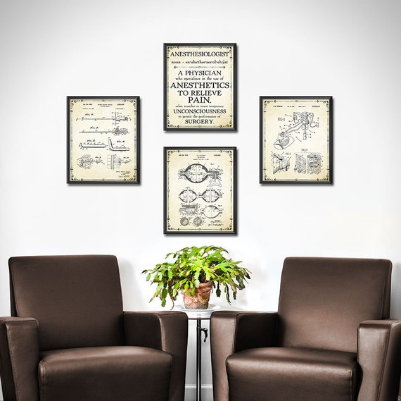 Marvelous Doctors Office Decor SET OF 4 Anesthesiologist Gift | Etsy