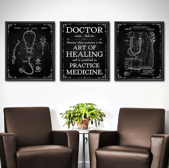 DOCTOR Gift Set OF 3 Doctors Office Decor Medical Patent Etsy