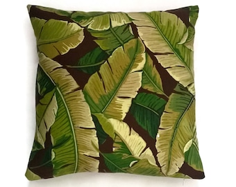 Outdoor decorative pillow cover,fall pillow cover,green ,brown, decorative pillow cover,patio pillows,lumbar pillow cover, solarium fabric,