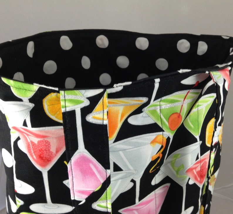 project bag black and white polka dot carry all white pink orange Tote bag martinis multi-use tote bag. lime errand bag cocktails