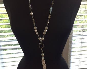 Crystals and freshwater pearls with semi other precious stones