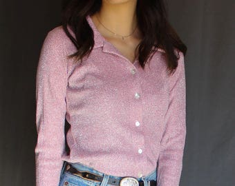 90's Vtg Sparkly Pink Button Down