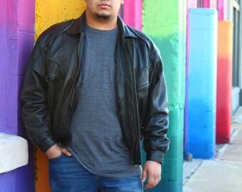 80's Vtg Black Leather Jacket