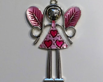 Hot Pink Fairy Pendant