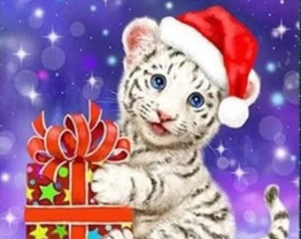 Snow Tiger Santa Christmas 5D Diamond Painting Kit Easy And Fast Round Drills Partial Drill Combined SH 25x30cm